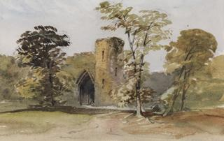 CASTLE GATEWAY WITH TREES. by White, George