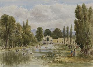 LANDSCAPE WITH RIVER & PALATIAL GATEWAY by White, George