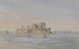 LANDSCAPE WITH ROCKY FORTRESS AND SHIPS by White, George