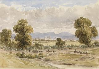 LANDSCAPE WITH VIEW OF MEXICO CITY by White, George