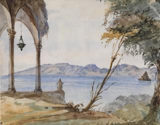 SEASCAPE WITH CLIFFS AND CHURCH TERRACE by White, George