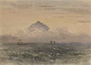SEASCAPE WITH SHIPS AND HIGH MOUNTAIN by White, George