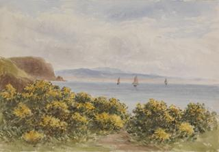 SEASCAPE. CLIFF EDGEWITH GORSE & SHIPS by White, George