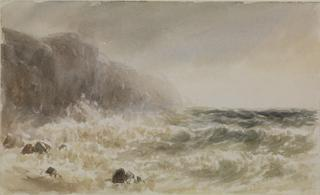 SEASCAPE. WAVES BREAKING ON CLIFFS by White, George