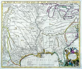 MAP OF LOUISIANA AND OF RIVER MISSISSIPI by Senex, John